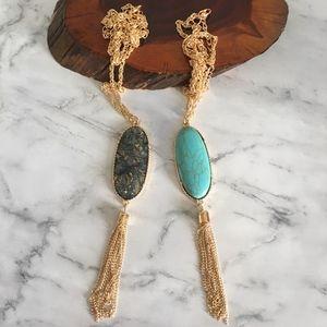 Faux Stone Fringe Necklace